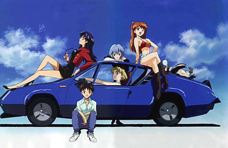 evangelion les personnages autour d 39 une voiture galerie d 39 images manga animint. Black Bedroom Furniture Sets. Home Design Ideas